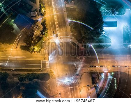 night crossroad, top view, aerial shoot