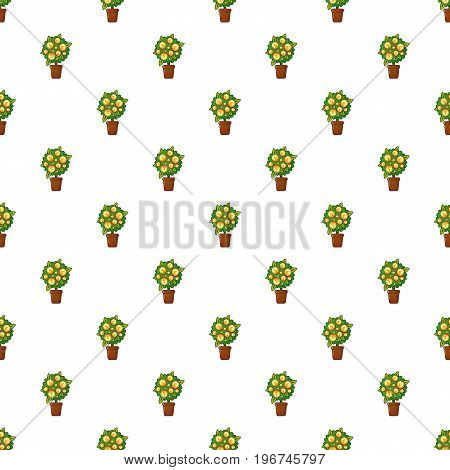 Money tree pattern seamless repeat in cartoon style vector illustration