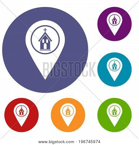 Map pointer with church, cathedral or temple sign icons set in flat circle red, blue and green color for web