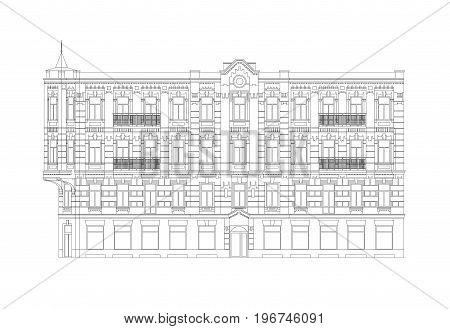 Facade Of The Classical City Building From The Beginning Of The XX Century. Architectural Professional Drawing With Editable Outlines