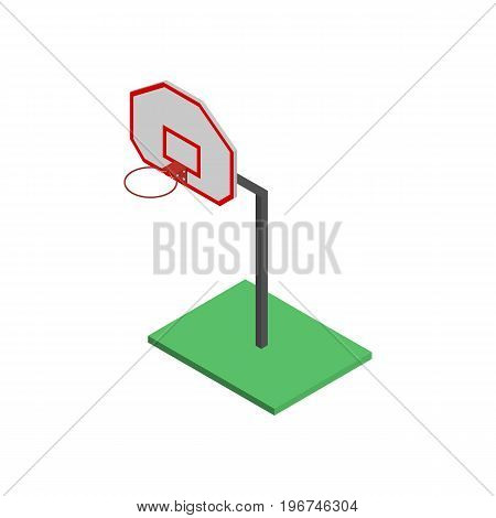 Basketball shield with a basket isolated on white background. Element for the design of playgrounds and sports objects. Flat 3d isometric style vector illustration.
