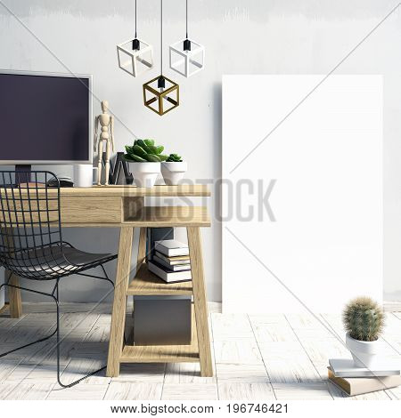 Modern light interior in the style loft a place for study consisting of working Desk lamp monitor and a poster on the background of light wall. 3D illustration. poster mock up