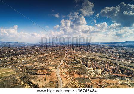 Aerial view over scenic terrain of Cappadocia Turkey