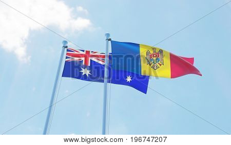 Moldova and Australia, two flags waving against blue sky. 3d image