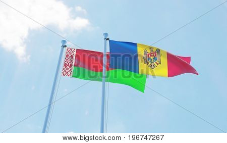 Moldova and Belarus, two flags waving against blue sky. 3d image
