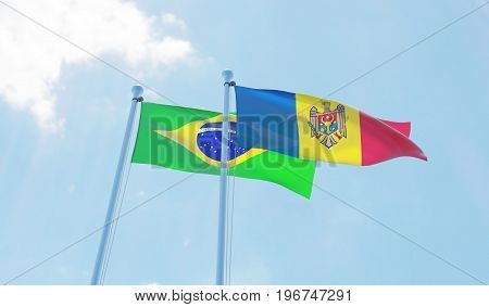 Moldova and Brazil, two flags waving against blue sky. 3d image
