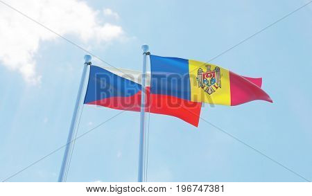 Moldova and Czech Republic, two flags waving against blue sky. 3d image