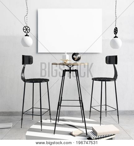 loft bar interior consisting of a dining area and a lamp. Poster mockup. 3d illustration