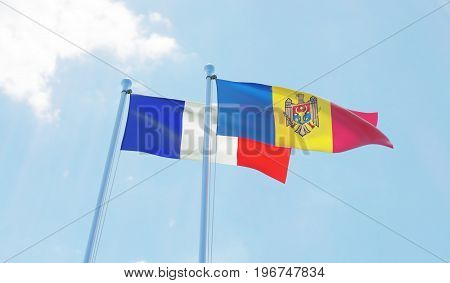 Moldova and France, two flags waving against blue sky. 3d image