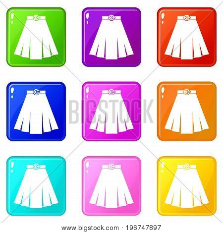 Skirt icons of 9 color set isolated vector illustration