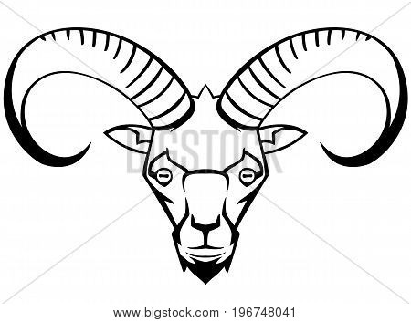mountain goat - the symbol graphic stylization suitable for tattoos and logos and mascots vector black and white
