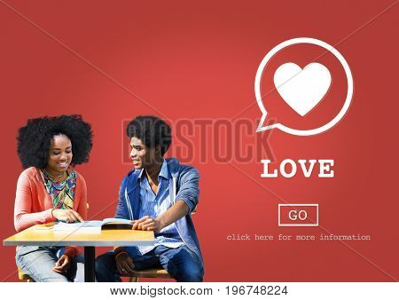 Love Heart symbol with two black lovers