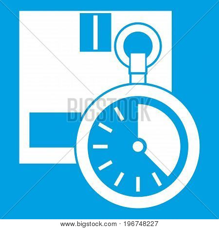 Cardboard box with stopwatch icon white isolated on blue background vector illustration