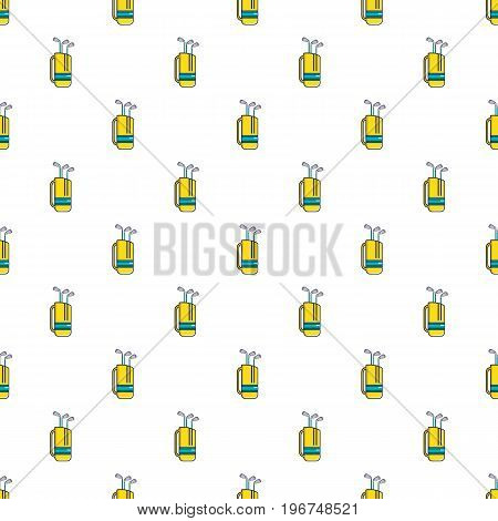 Yellow golf bag full of golf clubs pattern seamless repeat in cartoon style vector illustration