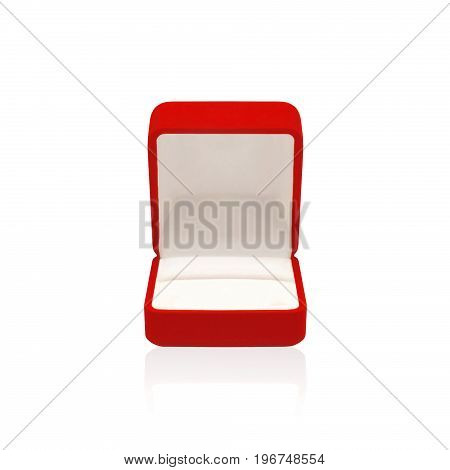 Empty Wedding Red Box For A Ring Isolated On A White Background