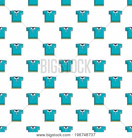 Blue polo shirt pattern seamless repeat in cartoon style vector illustration