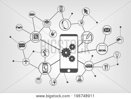 Smart automation and industrial internet of things concept vector illustration. Background of icons of connected devices
