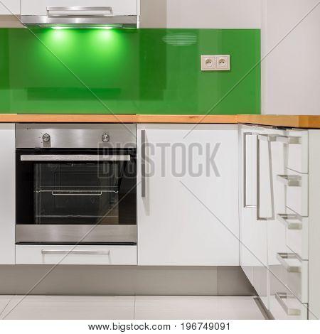 Kitchen With Modern, White Furniture