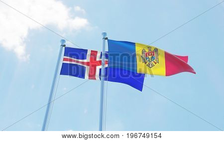 Moldova and Iceland, two flags waving against blue sky. 3d image