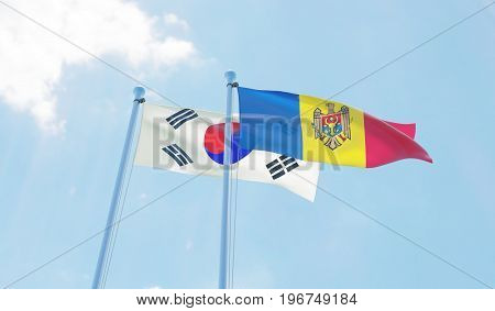 Moldova and Republic of Korea, two flags waving against blue sky. 3d image