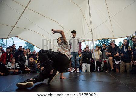B-boy Doing Some Break Dance Tricks