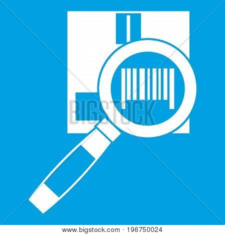 Magnifier and diskette icon white isolated on blue background vector illustration