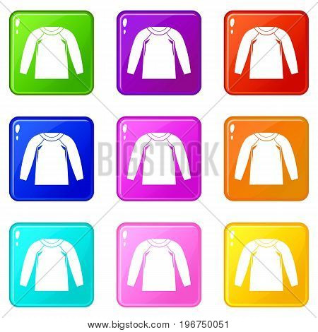 Sports jacket, icons of 9 color set isolated vector illustration