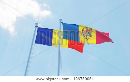 Moldova and Romania, two flags waving against blue sky. 3d image
