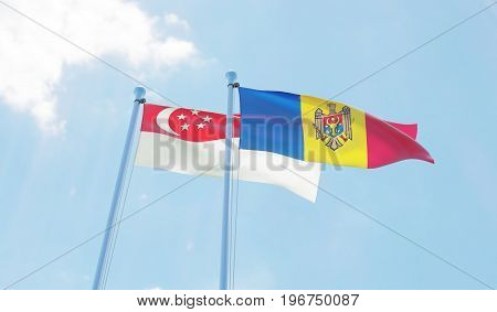 Moldova and Singapore, two flags waving against blue sky. 3d image