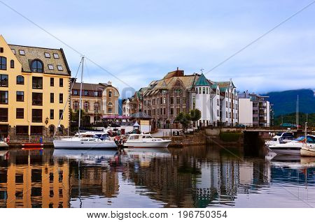 Cityscape of Alesund Norway at sunset - architecture background