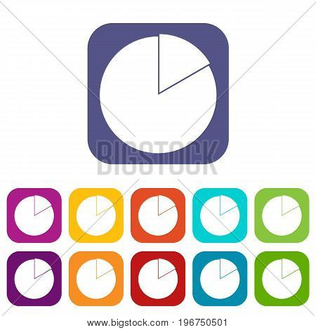 Business pie chart icons set vector illustration in flat style in colors red, blue, green, and other