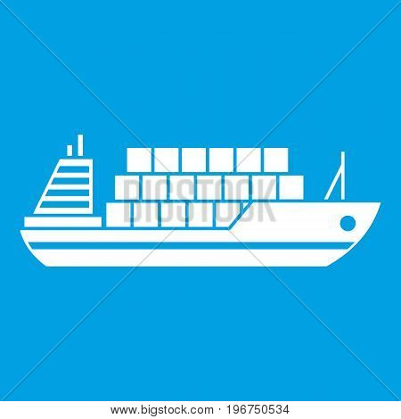 Cargo ship icon white isolated on blue background vector illustration