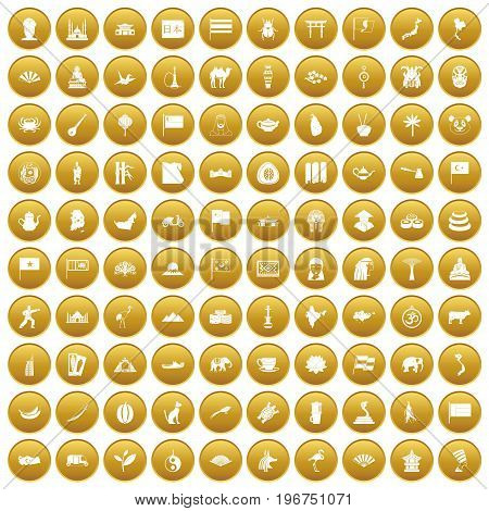 100 Asia icons set in gold circle isolated on white vector illustration