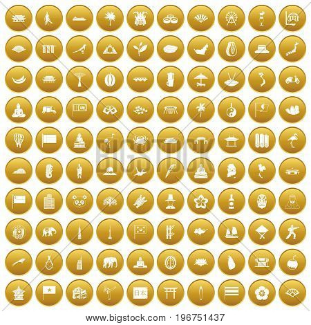 100 asian icons set in gold circle isolated on white vector illustration