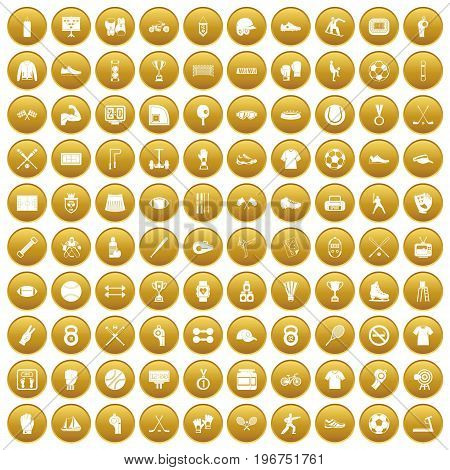 100 athlete icons set in gold circle isolated on white vector illustration