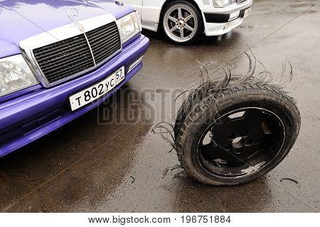 Orel Russia July 22 2017: Dynamica car festival. Extremely worn car tyre closeup