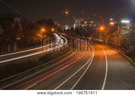 the freeway B7 near Dusseldorf at night in long time exposure