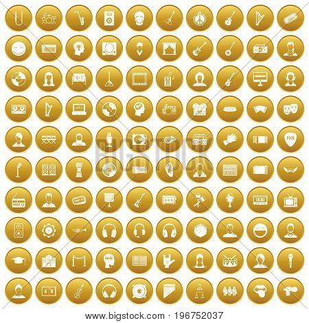 100 audience icons set in gold circle isolated on white vector illustration
