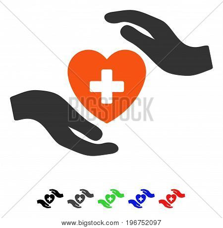 Cardiology Care Hands flat vector icon with colored versions. Color cardiology care hands icon variants with black, gray, green, blue, red.