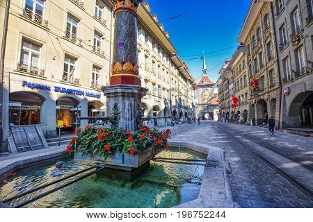 BERN SWITZERLAND - September 2016 - View of Bern old city center. Bern is capital of Switzerland and fourth most populous city in Switzerland.