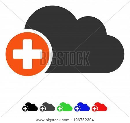 Create Cloud flat vector icon with colored versions. Color create cloud icon variants with black, gray, green, blue, red.