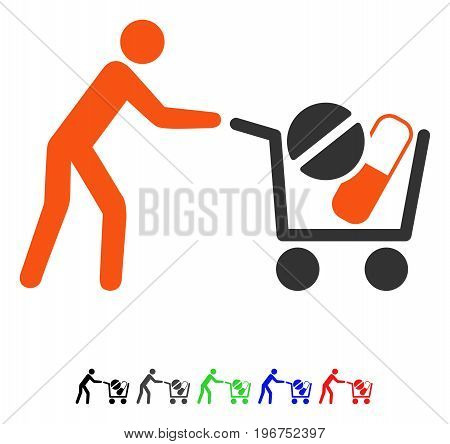 Drugs Shopping Cart flat vector icon with colored versions. Color drugs shopping cart icon variants with black, gray, green, blue, red.
