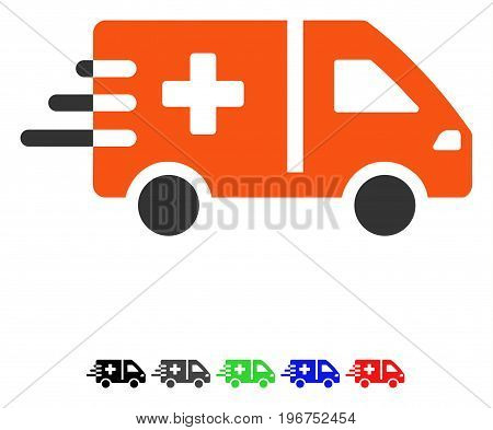 Emergency Car flat vector pictogram with colored versions. Color emergency car icon variants with black, gray, green, blue, red.