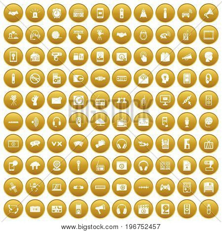 100 audio icons set in gold circle isolated on white vector illustration
