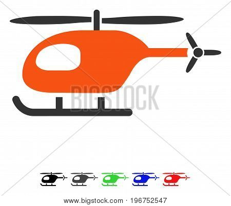 Helicopter flat vector icon with colored versions. Color helicopter icon variants with black, gray, green, blue, red.