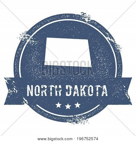 North Dakota Mark. Travel Rubber Stamp With The Name And Map Of North Dakota, Vector Illustration. C
