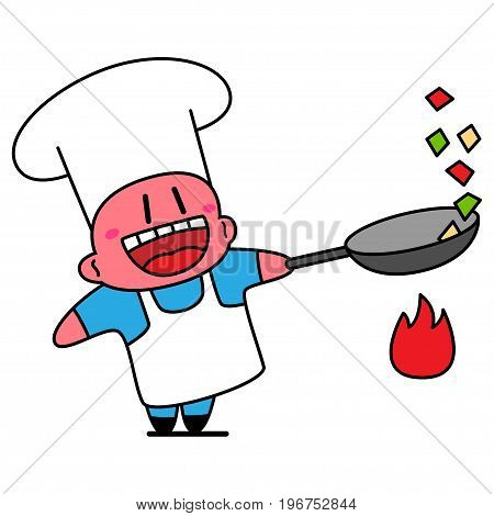 Kawaii chef laughing and fries vegetables in the wok.