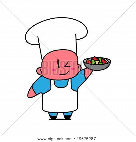 Kawaii chef smiling and holding dish with vegetables.
