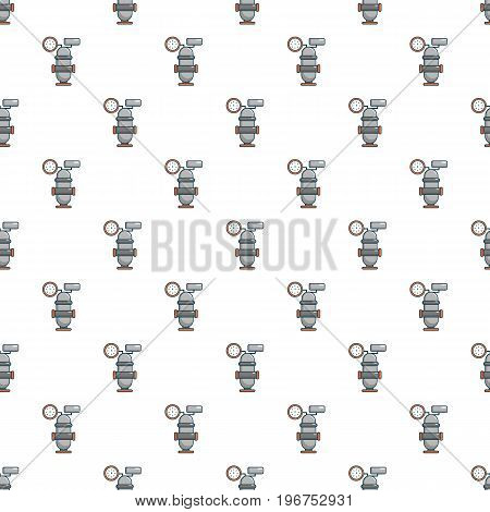 Oil industry equipment pattern seamless repeat in cartoon style vector illustration