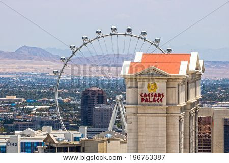 Las Vegas - Circa July 2017: Caesars Entertainment Corporation properties - Caesars Palace The Linq and the High Roller. CZR owns over 50 casinos and hotels